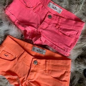 Two pairs of denim Hollister shorts